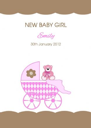 Personalised New Baby Girl Card Design 4